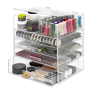 Whitmor 5 Tier Extra-Large Cosmetic Organizer and Jewelry Storage Display Case - Easy Clean Acrylic