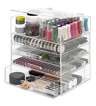 Amazon.com: Whitmor 5-Tier Acrylic Cosmetic Organizer, Clear: Home ...