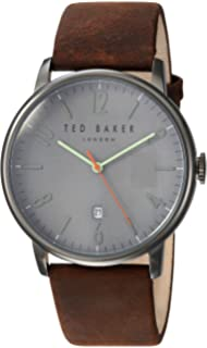 8125ab0d2d77d Ted Baker Men s 10030656 Grey Leather Japanese Quartz Fashion Watch ...