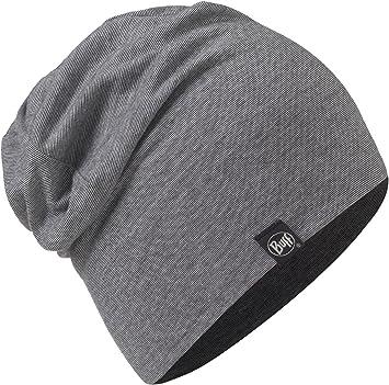 Set - Buff® Cotton Hat Gorro + UP® Ultrapower Paño Tubular   Mujeres   Hombres   Slouchy   Beanie   Algodón orgánico   Delgada   Cómodo, Buff Original Design:Grey Stripes - 117113.937.10.00: Amazon.es: Deportes y aire libre