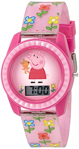 Peppa Pig Kids Digital Watch with Pink Case, Comfortable Pink Strap, Easy to