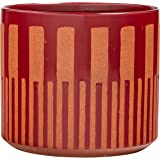 "Rivet Modern Global Ceramic Stoneware Planter, 7.9""H, Red and Orange"