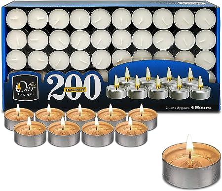 Velas de Té Ohr - Pack de 200 velas - Velas Blancas, para Centros de Mesa y Viaje 4 Horas de Duración de Encendido - Cera Prensada: Amazon.es: Hogar