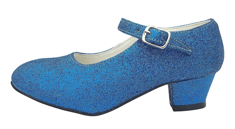 Taille 26-17 cm La Se/ñorita Chaussures Flamenco Espagnol Princesse de danse Bleu scintillement