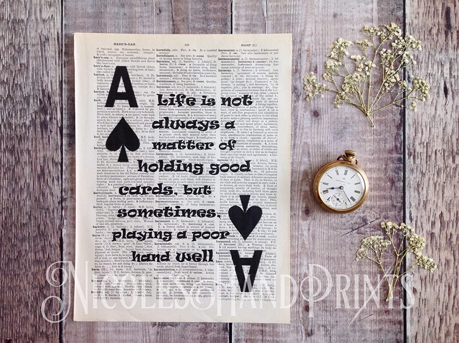 Ace Of Spades Playing Card Print Upcycled Vintage Dictionary Page Computer Circuit Board Wall Clock Upcycling Pinterest Life Quotes Art Poster Gifts For Poker Players