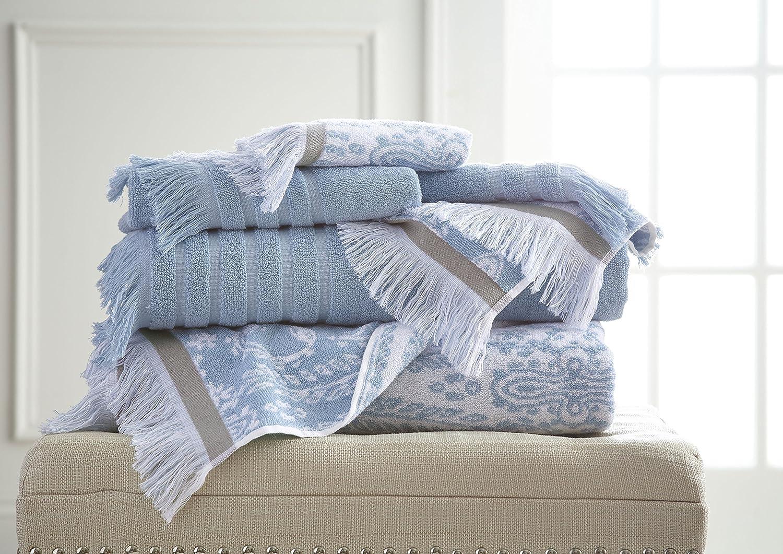 Costa del Pacífico Textiles 6 pc Hilo teñido Toalla Jaipur Azul, Juego de 6: Amazon.es: Hogar