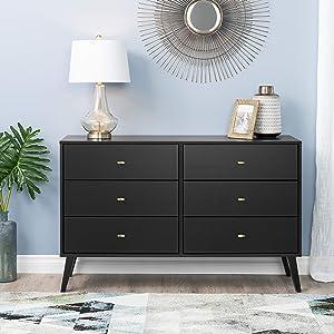 Prepac Milo Mid Century Modern 6 Drawer Double Dresser in Black