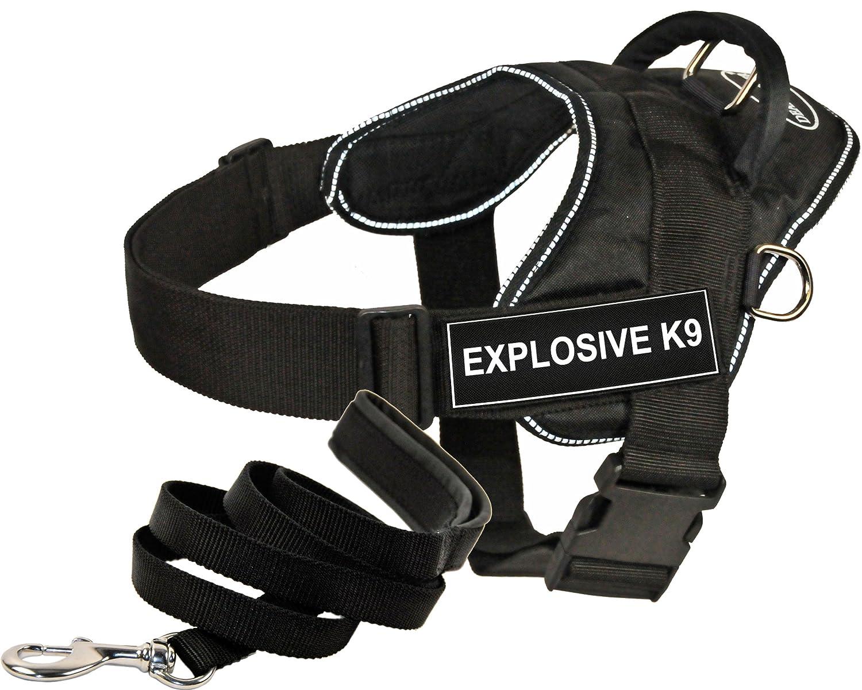 Dean & Tyler DT Fun Works Harness 6-Feet Padded Puppy Leash, Explosive K9, X-Large, Black