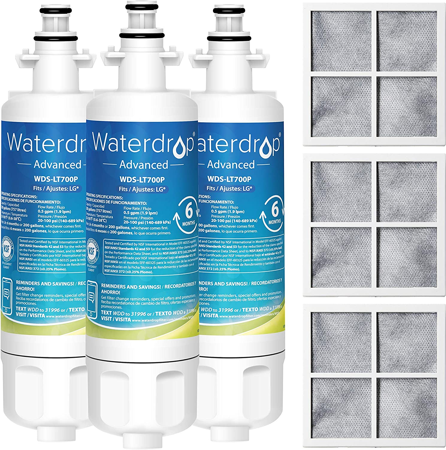 Waterdrop ADQ36006101 Replacement for LG LT700P, Kenmore 9690, 469690, ADQ36006102, LFXS30766S, RFC1200A, FML-3, RWF1200A Refrigerator Water and LT120F Air Filter, Package May Vary