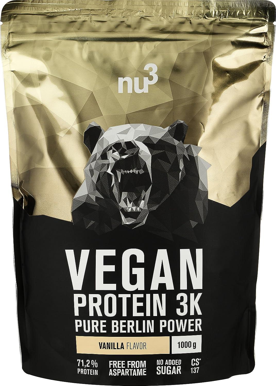 nu3 Proteína Vegana 3K - 1kg de Fórmula - 71,2% de Proteína a Base de 3 Componentes Vegetales - Proteínas Para el Crecimiento de la Masa Muscular con Delicioso Sabor Vainilla