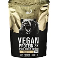 nu3 Vegan Protein 3K Shake | Vanilla Blend - 1 Kg Plant Based Protein | Organic Protein Powder Made from 3-Component Protein | with 71% Protein and Delicious Vanilla Flavor | Lactose- and Sugar Free