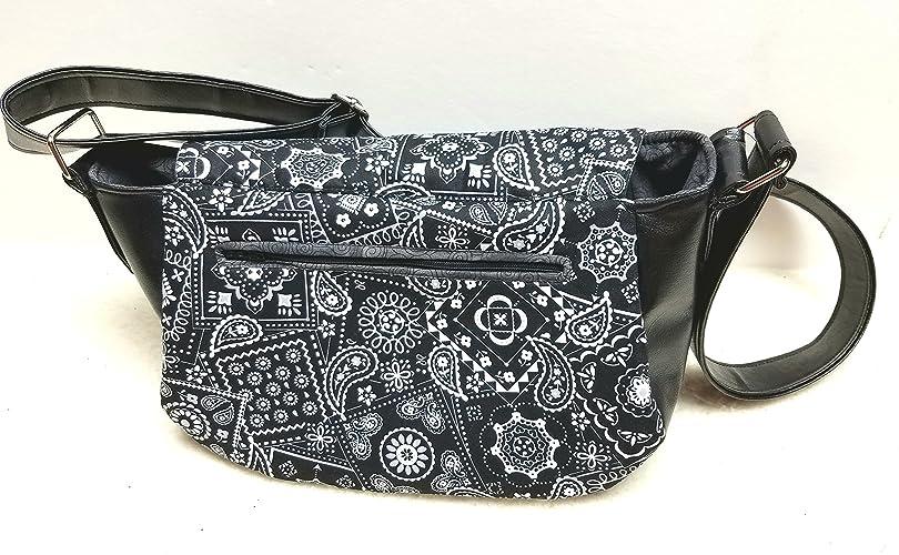 Black Paisley Leather Handbag Wallet Purse