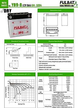 135 x Largeur mm Batterie FULBAT YB9-B 12V 9Ah 130A Longueur 139 75 x Hauteur