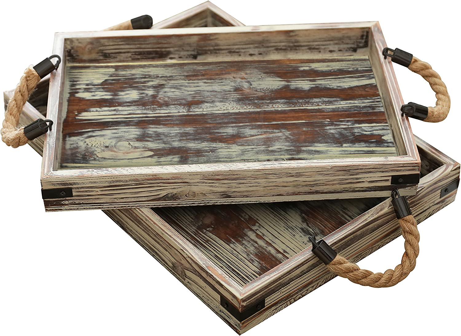 Amazon Com Mygift Country Rustic Wood Coffee Tray Set Of 2 With Rope Handles Breakfast Platters Serving Trays Home Kitchen