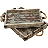 Set of 2 Country Rustic Wood Nesting Serving Trays with Rope Handles