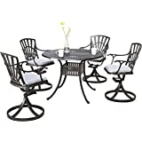 Home Styles 5560-305 5-Piece Dining Set, Charcoal Finish