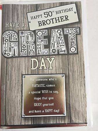 Happy 50th Birthday Brother Have A Great Day Geburtstagskarte 50 Fifty Silber Grau Schwarz