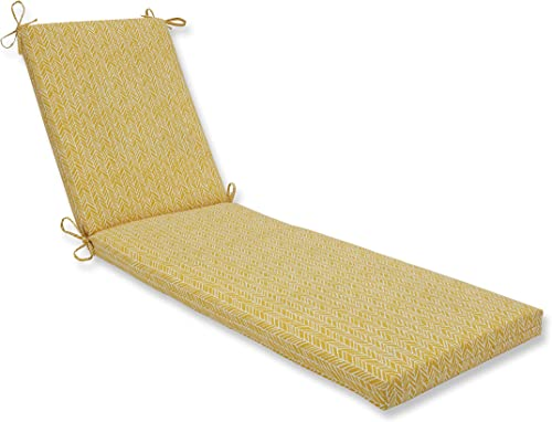 Pillow Perfect Outdoor Indoor Herringbone Egg Yolk Chaise Lounge Cushion, 80 x 23 , Yellow