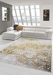 Traum Teppich Designerteppich Moderner Teppich Wohnzimmerteppich Kurzflor  Mit Konturenschnitt Kariert In Grau Gelb Weiß, Größe