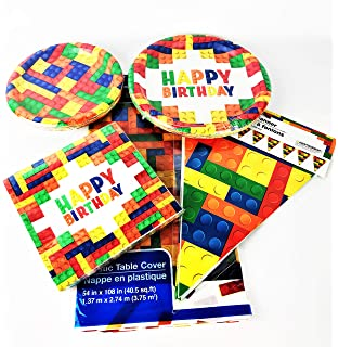 Way to Celebrate Toy Brick Themed Party Supply Set Table Cover and Banner Retail Inc