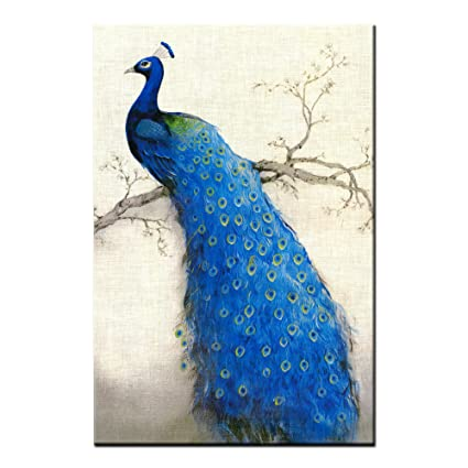 539851f092a Image Unavailable. Image not available for. Color  Framed Canvas Art Prints  For Living Room Home Decoration Wall Art Canvas Painting Prints Blue Peacock