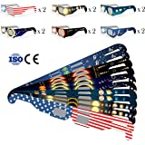 NEW SOLAR ECLIPSE GLASSES SHADES VIEWER EYE PROTECTION FILTER for SAFE DIRECT SUN VIEWING CE Certified Safe for Great American Total Solar Eclipse August 21, 2017 (10 Pack)