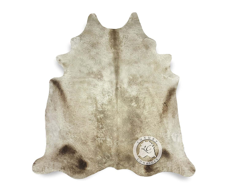 Teppich aus Kuhfell, Farbe  Beige Creme , Größe circa 180 x 210 cm, Premium - Qualität von Pieles del Sol aus Spanien