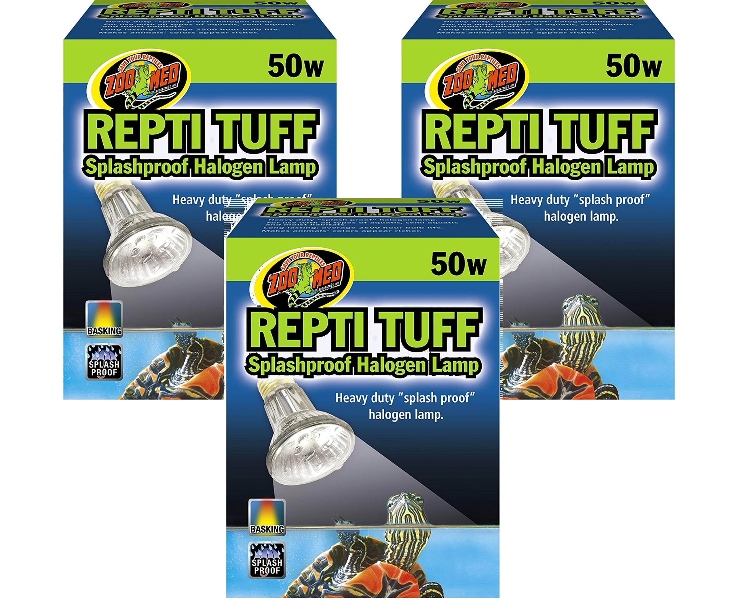 Zoo Med Repti Tuff Splashproof Halogen Lamps 50 Watts (3 Pack) by Zoo Med