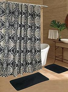 Beatrice Home Fashions 15 Piece Shower Curtain/Mat Set, Tiles Black