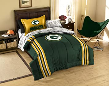 Green Bay Packers NFL Twin Comforter, Sheets U0026 Sham (5 Piece Bed In A