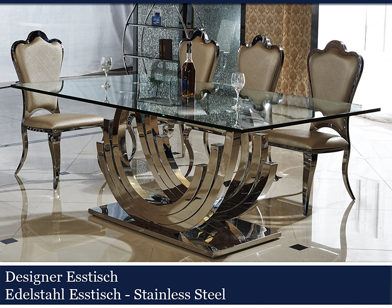 Designer Esstisch designer esstisch edelstahl esszimmer tisch glastisch glas hochglanz