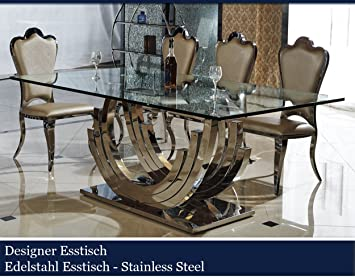 HG Royal Designer Esstisch Edelstahl Esszimmer Tisch Glastisch Glas  Hochglanz 200cmx100cmx75cm