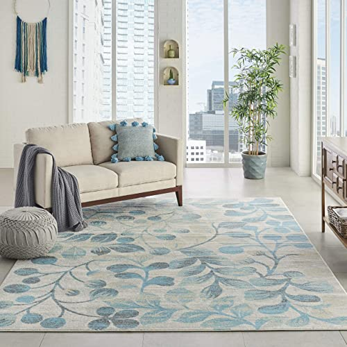 Nourison TRA03 Tranquil Contemporary Botanical Ivory Turquoise Area Rug 8 10 X 11 10 , 9 x 12