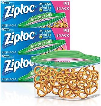 3-Pack of 90-Count Ziploc Snack Bags (270 Total Bags)