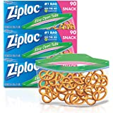 Ziploc Snack Bags with New Grip 'n Seal Technology, Ideal for Packing Cookies, Fruits, Vegetables, Chips and More, 90…
