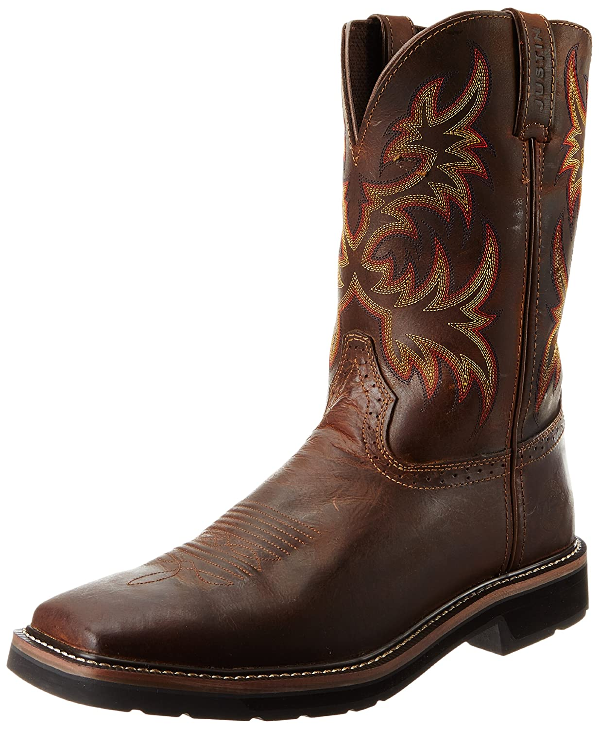 Justin Original Work Boots Men's Stampede Pull-On Square Toe Work Boot Stampede Pull On Square Toe