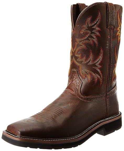 446da082cac Justin Original Work Boots Men's Stampede Pull-On Square Toe Work Boot