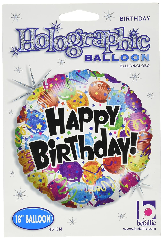 Betallic 86342P Party Balloon Birthday Holographic Packed Balloon 18