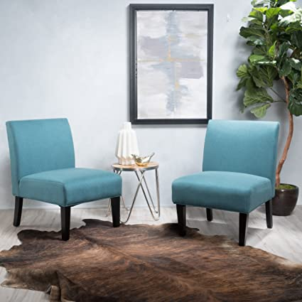 Amozon Accent Chairs.Kendal Dark Teal Fabric Accent Chair Set Of 2