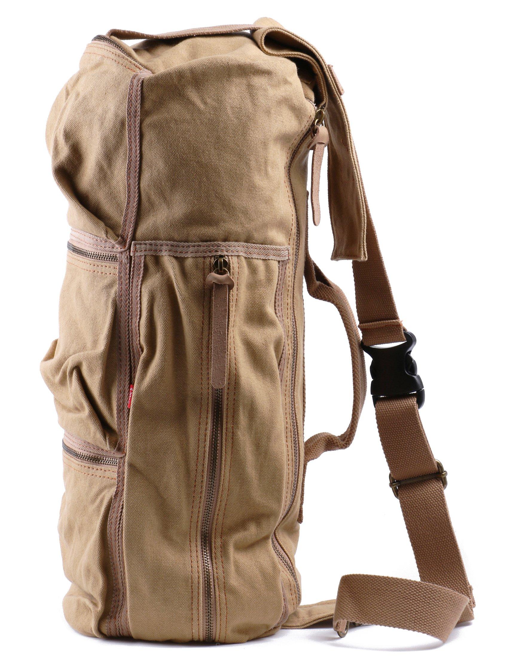 Cylinder Canvas Bag Travel Outdoor Hiking Bag Luggage Satchel Bag Should Bags(Khaki)