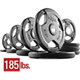 XMark Tri-Grip Plate Weights, Pairs and Sets, Premium Quality Rubber Coated Tri-grip Olympic Plate Weights, Barbell Weights, Weight Plates