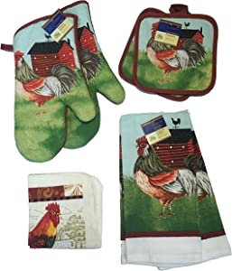 Home Collection Kitchen Linen Set Bundle: Rooster & Country Farm with 2 Oven Mitts, 2 Pot Holders, 2 Kitchen Towels, and 2 Scrubber Dishcloths