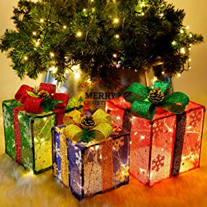 ATDAWN Set of 3 Lighted Gift Boxes Christmas Decorations, Snowflake Present Boxes, Christmas Home Gift Box Decorations