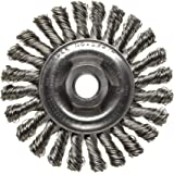 """Weiler Dualife Wire Wheel Brush, Threaded Hole, Stainless Steel 302, Full Twist Knotted, 4"""" Diameter, 0.020"""" Wire Diameter, 5/8-11"""" Arbor, 7/8""""  Bristle Length, 1/4"""" Brush Face Width, 20000 rpm"""
