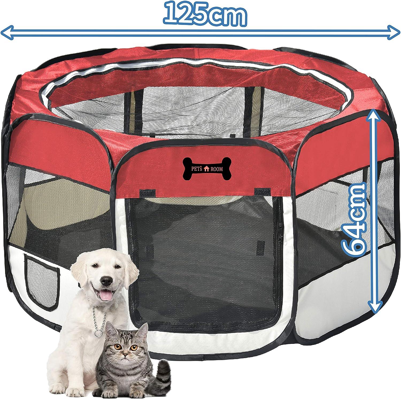 Mcdear Plegable Parque Mascota de Juego Fabric Pet Pen para Perros Gatos Conejos Animales pequeños Rojo