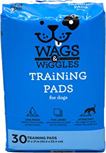 Wags & Wiggles Training Pads For Dogs, 30 Count | Puppy Pee Pads For Dogs | Dog and Puppy Supplies (FF9572)