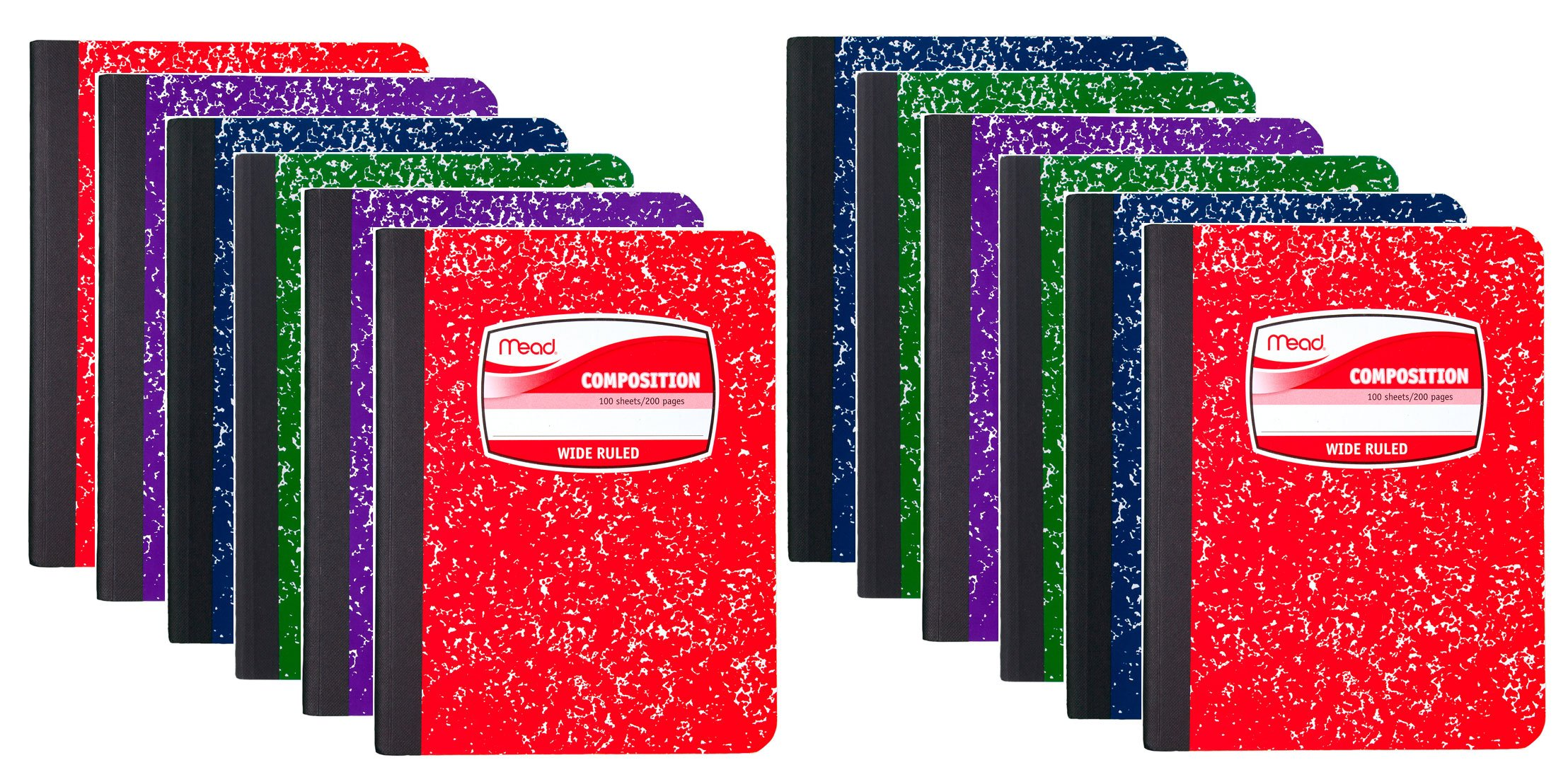 Mead Composition Book Wide Ruled, 100 sheets, COLOR MAY VARY, 12 Pack