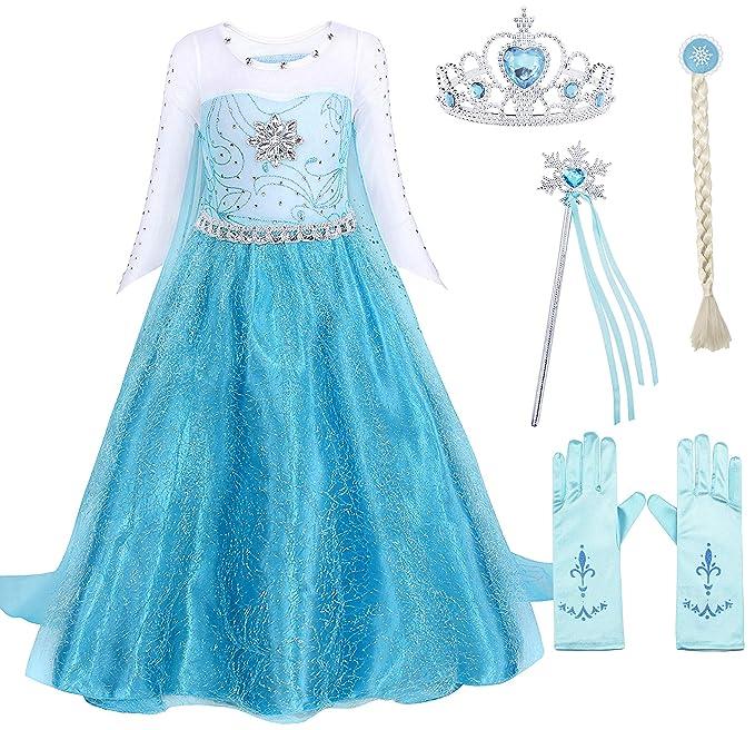 1181d7f28a71 Amazon.com  Cotrio Elsa Dress Toddlers Dress Up Princess Costume for ...
