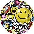 Amscan - 551957 - 8 Assiettes Smiley Comic Diamètre - 23 cm