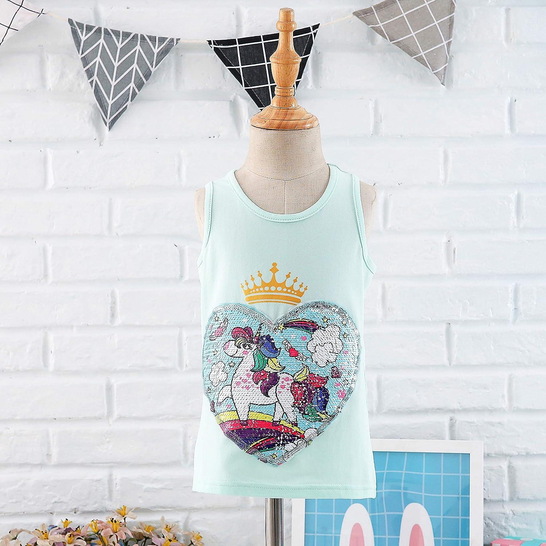 Unicorn Flip Heart Sequin Girl/'s T-Shirt Short//Long Sleeve 3-12 Years